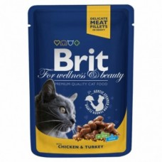 Brit Premium Cat pouch 100 g курица и индейка