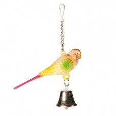 Попугайчик Trixie с колокольчиком на цепочке 9см