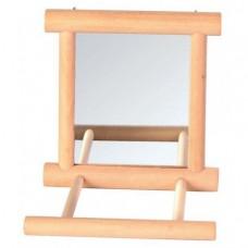 Зеркало Trixie с перекладиной дерев. для попугая 9*9см