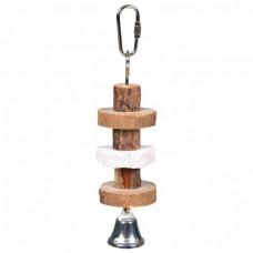 Іграшка Trixi для птахів деревяна с люфой и дзвіночком 30 см